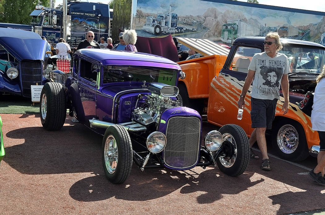 Horace Langford Jr./Special to the Pahrump Valley Times Classic cars and trucks lined up at 3681 W. Bell Vista Ave. for the 2018 Pahrump Car Show on Oct. 6-7. Classic car owners enjoyed festiviti ...