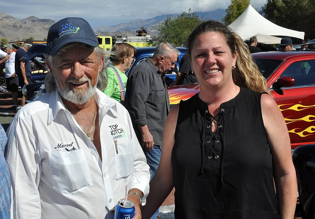 Horace Langford Jr./Special to the Pahrump Valley Times Marcel and Valerie Martel of Pahrump-based Top Notch Repairs at the 2018 Pahrump Car Show on Oct. 6, 2018. Top Notch put on the two-day eve ...