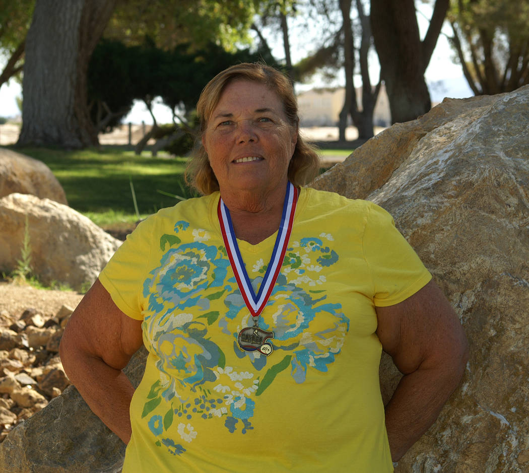 Special to the Pahrump Valley Times Susan Zink in 2014, after she qualified for the Senior Olympics in Minnesota by winning a medal at the Nevada Senior Games.