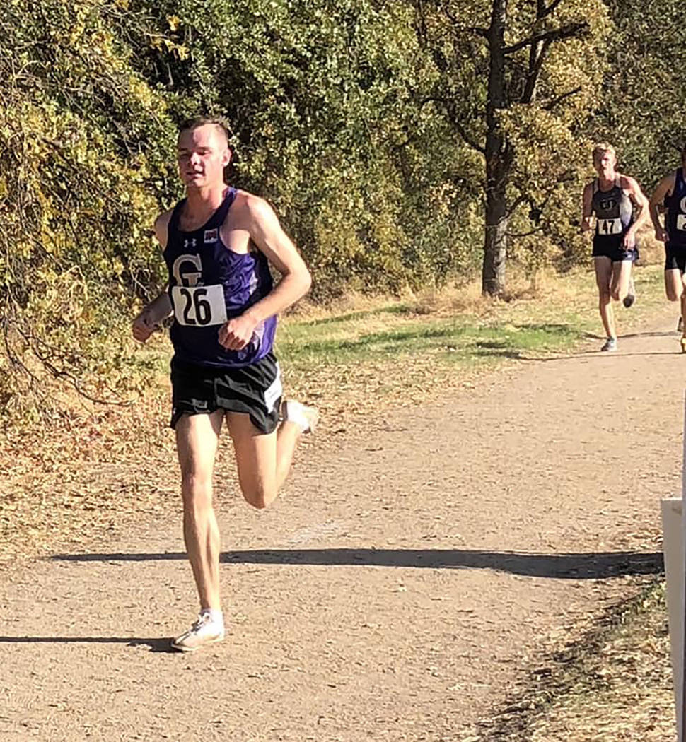 Tammi Odegard/Special to the Pahrump Valley Times Pahrump Valley High School graduate Bryce Odegard competes for the College of Idaho on Oct. 20 at the Warrior Invitational hosted by William Jessu ...