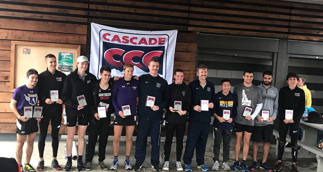 Austin Basterrechea/Special to the Pahrump Valley Times College of Idaho freshman Bryce Odegard of Pahrump, sixth from left, with the rest of the Cascade Collegiate Conference all-conference team ...