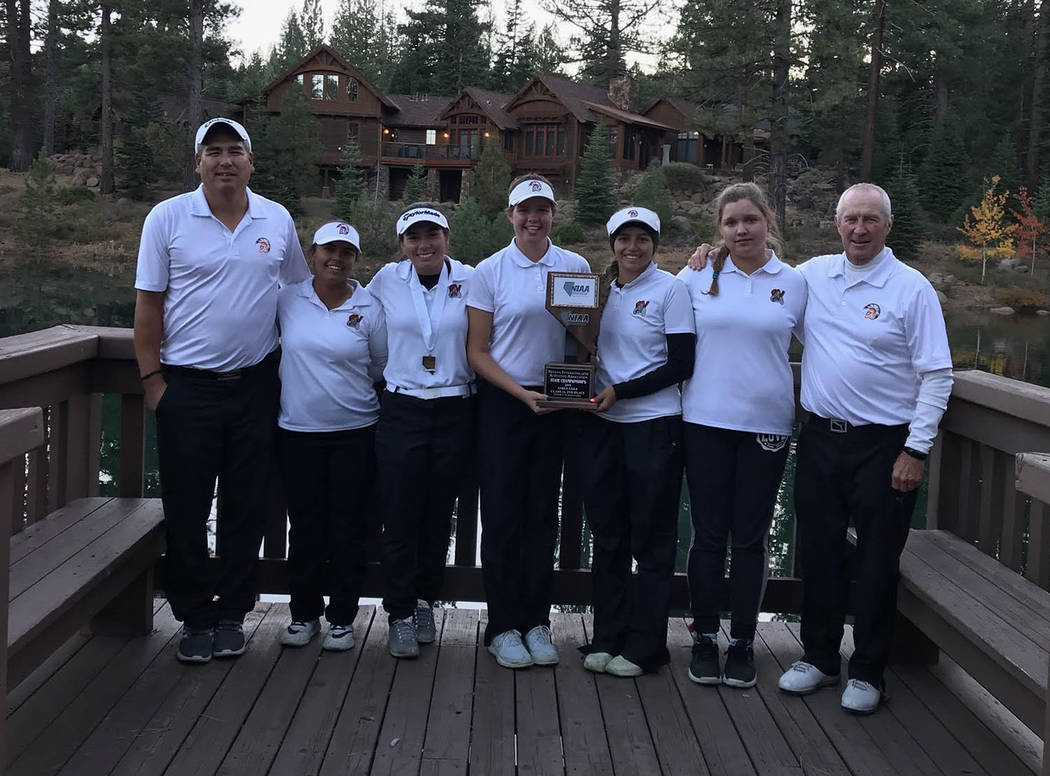 Benita Sutton/Special to the Pahrump Valley Times The Pahrump Valley girls golf team at the Class 3A state championships at Schaffer's Mill Golf Course in Truckee, California. From left, assistant ...