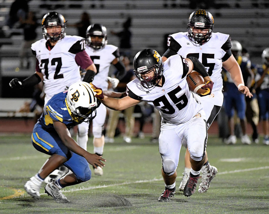 Peter Davis/Special to the Pahrump Valley Times Pahrump Valley senior running back Nico Velazquez, shown during a Sept. 21 game against Democracy Prep in Las Vegas, finished with 1,622 all-purpose ...