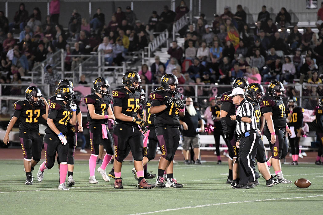 Peter Davis/Special to the Pahrump Valley Times Offensive linemen Brandon Bunker (56), Armani McGhee (73), Caleb Sproul (72), Jakob Landis (64) and Zach Trieb (75) lead the Pahrump Valley High Sch ...