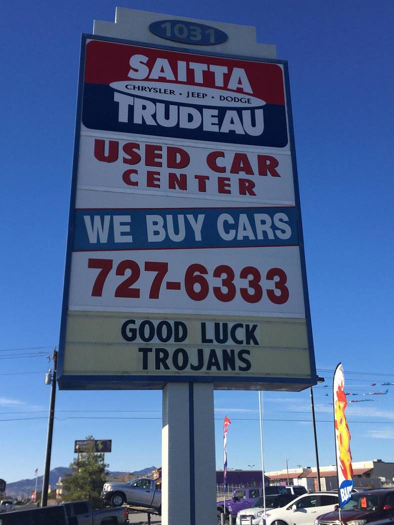 Cindy Colucci/Special to the Pahrump Valley Times Saitta Trudeau Chrysler Jeep Dodge, a longtime supporter of Pahrump Valley High School athletics, shows its support for the Trojans as they take o ...