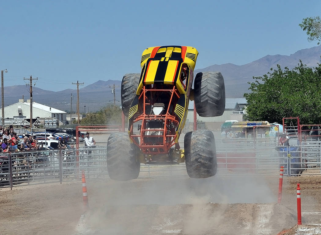 """Horace Langford Jr./Pahrump Valley Times Monster truck """"Tuff E Nuff"""" driven by Jack Koberna on April 21 at McCullough Arena in Pahrump during the Monster Truck Insanity Tour."""