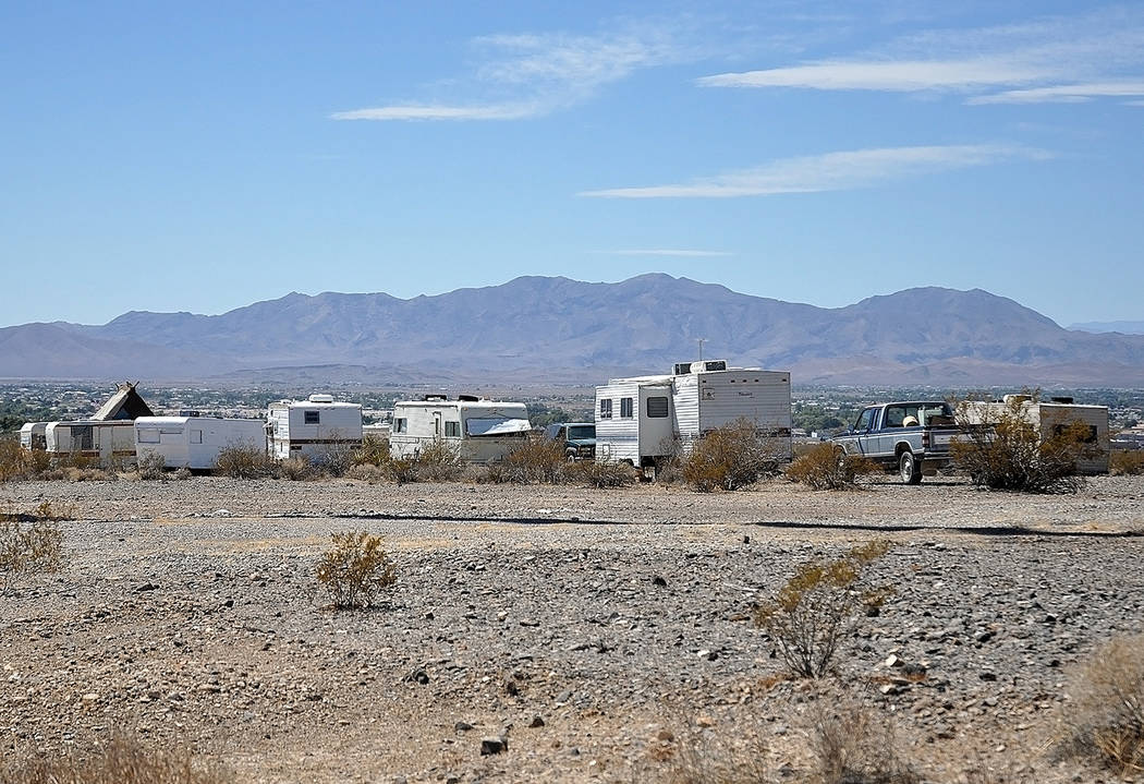 Horace Langford Jr./Pahrump Valley Times A homeless camp on East Basin as shown in a September photo.