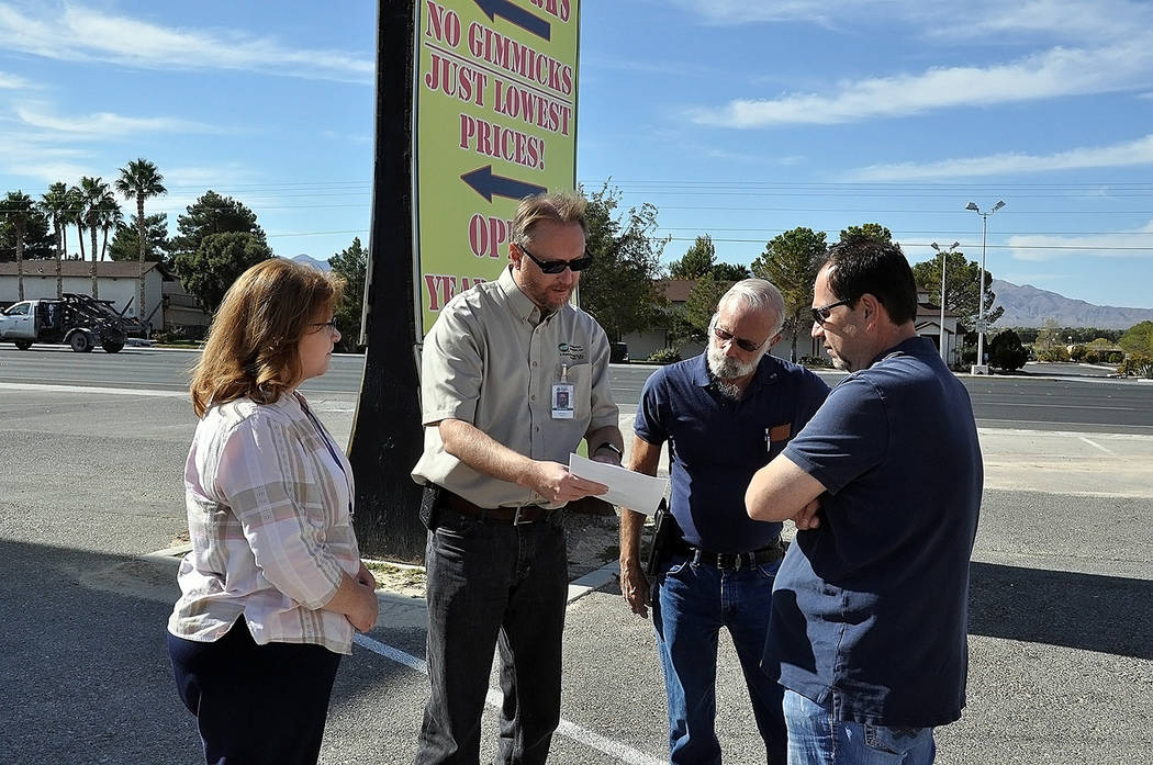 Horace Langford Jr./Pahrump Valley Times - From left to right are VEA Key Accounts Coordinator Beth Lee, VEA Engineering Technician Eric Johnson, Nye County Commission Chairman John Koenig and Bl ...
