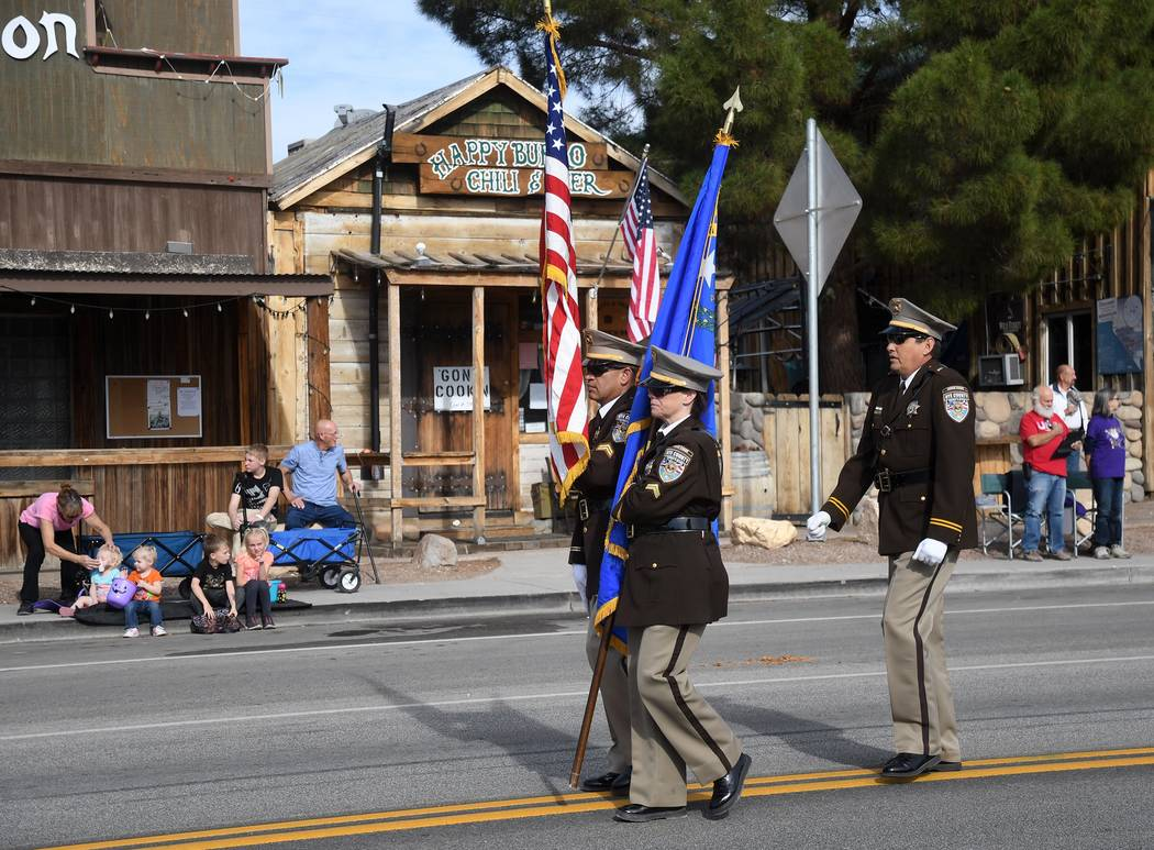 Richard Stephens/Special to the Pahrump Valley Times The color guard marches during the Beatty Days parade. The parade was held Oct. 27.