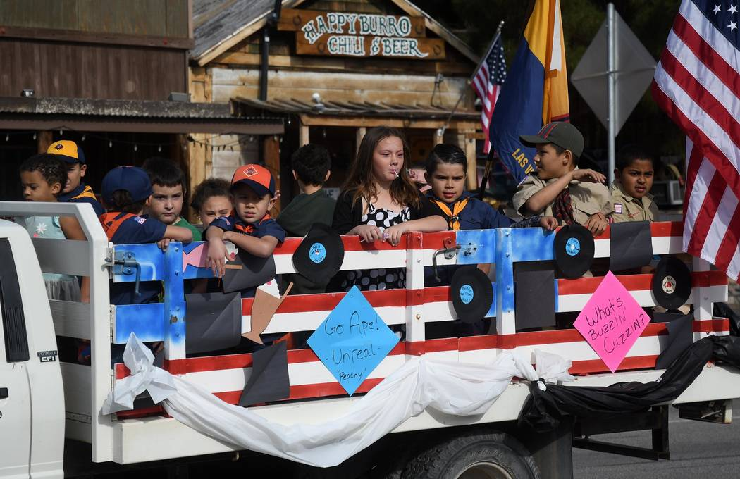 Richard Stephens/Special to the Pahrump Valley Times Scouts, including Cub Scouts, were among those taking part in the Beatty Days parade. The parade was in downtown Beatty on Oct. 27.