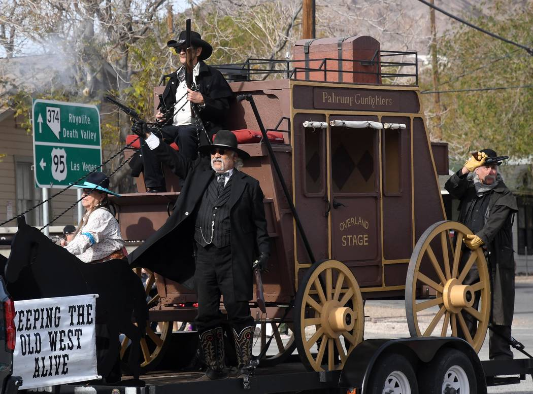Richard Stephens/Special to the Pahrump Valley Times Pahrump gunfighters do their thing as participants in the Beatty Days parade. Downtown Beatty hosted the parade on Oct. 27 in the community.