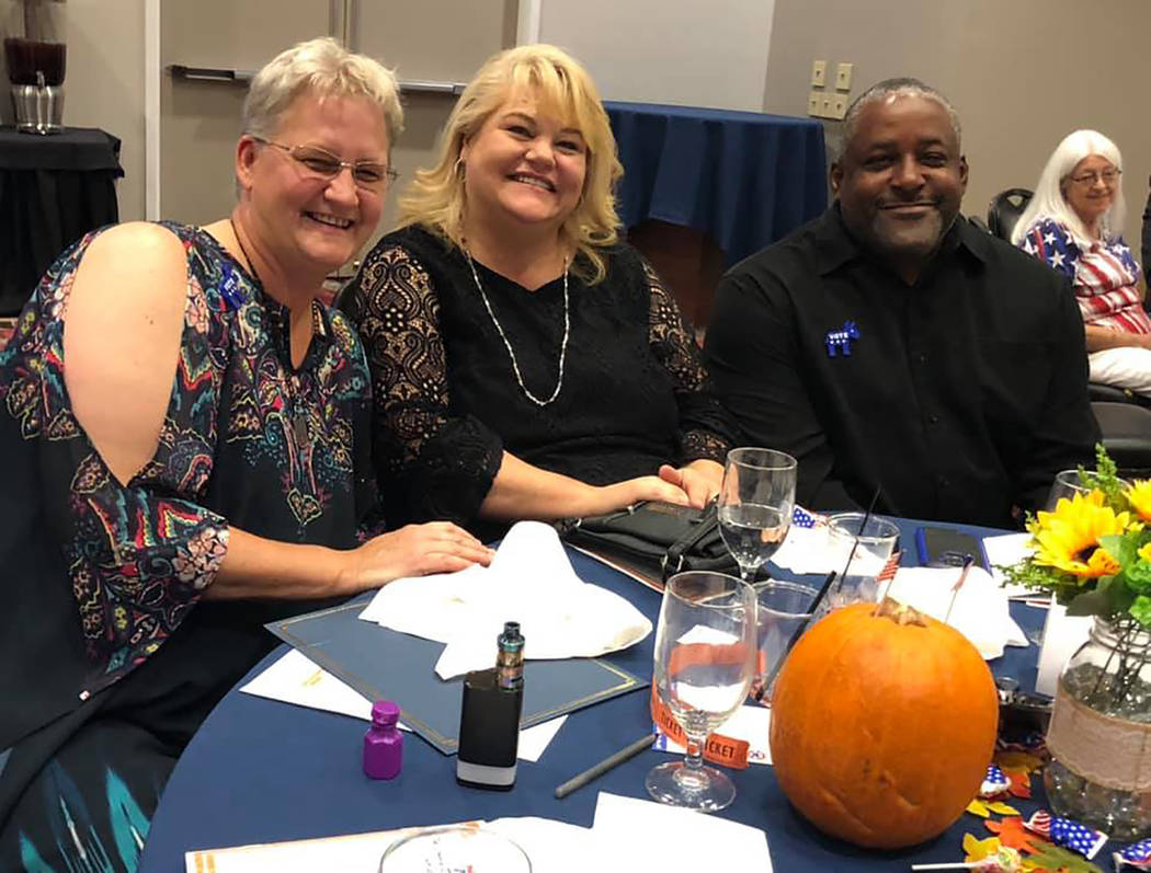 Special to the Pahrump Valley Times From left to right are Nye County Democratic Central Committee Chairperson Carol Little, Nevada Assembly District 36 Democratic candidate Lesia Romanov and a Ro ...