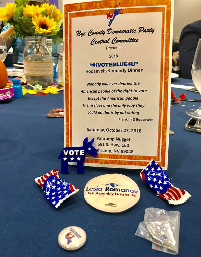 Special to the Pahrump Valley Times Tables decorations touting various Democratic candidates and encouraging voters to head to the polls adorned the tables at the Roosevelt-Kennedy Dinner.