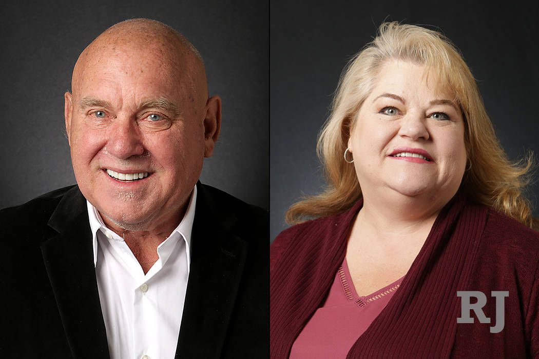 Dennis Hof, left, and Lesia Romanov, right. Nevada State Assembly District 36 (Michael Quine/Las Vegas Review-Journal) @Vegas88s