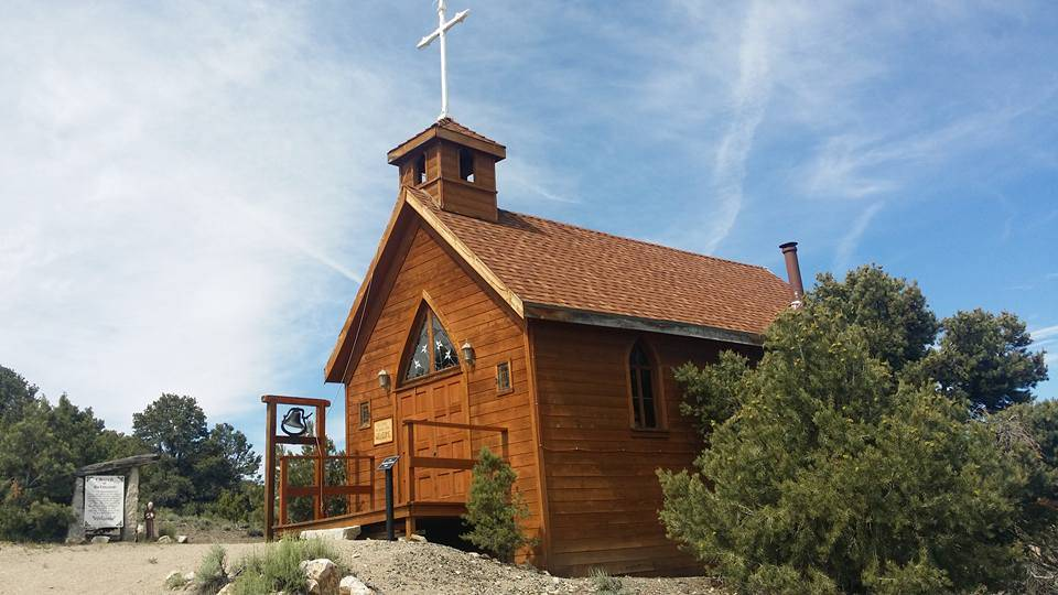 David Jacobs/Times-Bonanza Pictured is the Church of Belmont, a replica of the original Catholic church in Belmont, reproduced by well-known businessman Jim Marsh. The original church was moved to ...