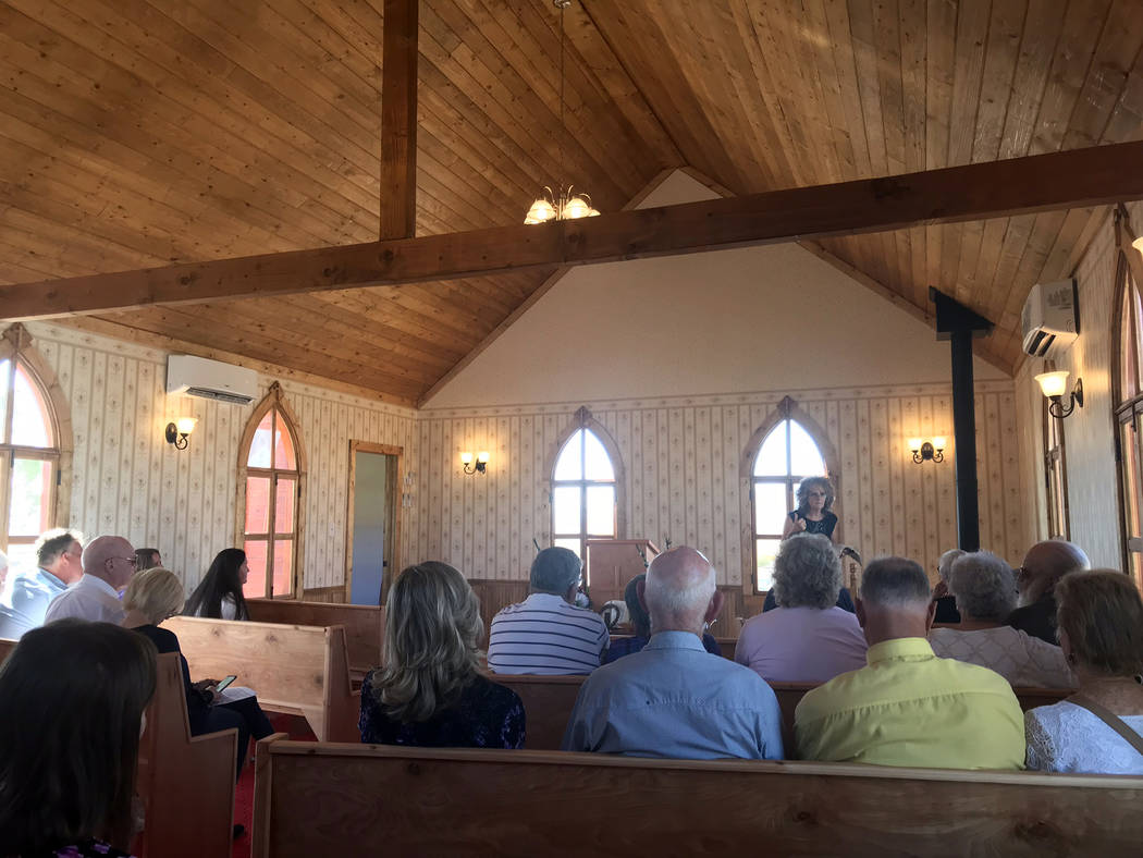 Jeffrey Meehan/Pahrump Valley Times A church service gets underway at The Chapel at Longstreet on Oct. 28, 2018. The service was led by Sherry Donegan of the Church of Amargosa.