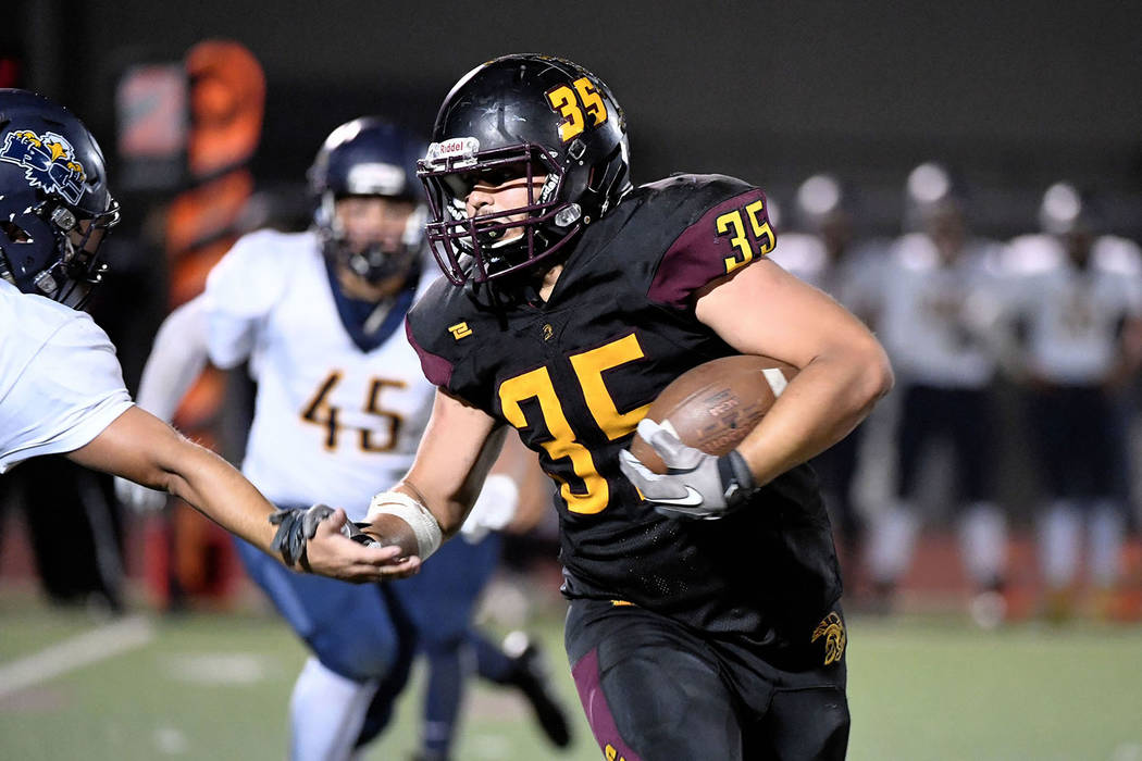Peter Davis/Special to the Pahrump Valley Times Pahrump Valley senior running back Nico Velazquez rushed for 180 yards and two touchdowns and returned a kickoff 90 yards for a third score during t ...