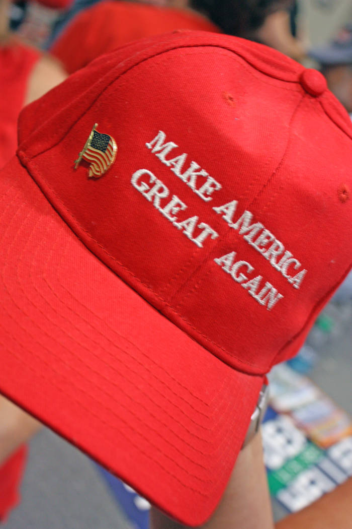 """Robin Hebrock/Pahrump Valley Times Many Republican rally attendees had donned their """"Make America Great Again"""" hats in a show of support for President Donald Trump."""