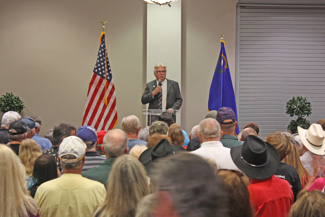 Robin Hebrock/Pahrump Valley Times Nye County Republican Central Committee Chairman Joe Burdzinski fired up the crowd before turning the stage over to Republican candidates.