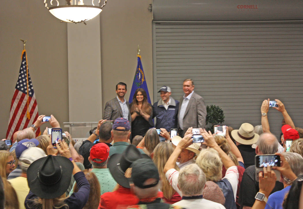 Robin Hebrock/Pahrump Valley Times From left to right are Donald Trump Jr., Kimberly Guilfoyle, Adam Laxalt and Cresent Hardy, posing for group photos following the Get Out The Vote rally hosted N ...