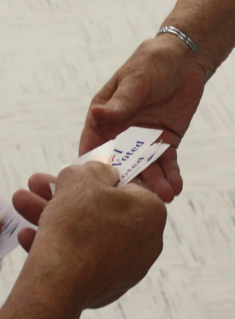 """Robin Hebrock/Pahrump Valley Times Each voter was handed the iconic """"I Voted"""" sticker on their way out of the polling place on election day."""