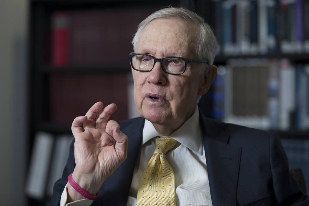 Erik Verduzco/Las Vegas Review-Journal Former U.S. Senate Majority Leader Harry Reid during an interview at UNLV's William S. Boyd School of Law building in Las Vegas, Friday, March 16, 2018.