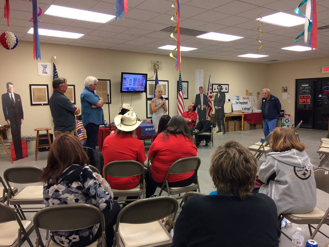 Robin Hebrock/Pahrump Valley Times The scene at the Nye County Republican Central Committee headquarters was somber on election night as Republicans celebrated the late Dennis Hof's win.