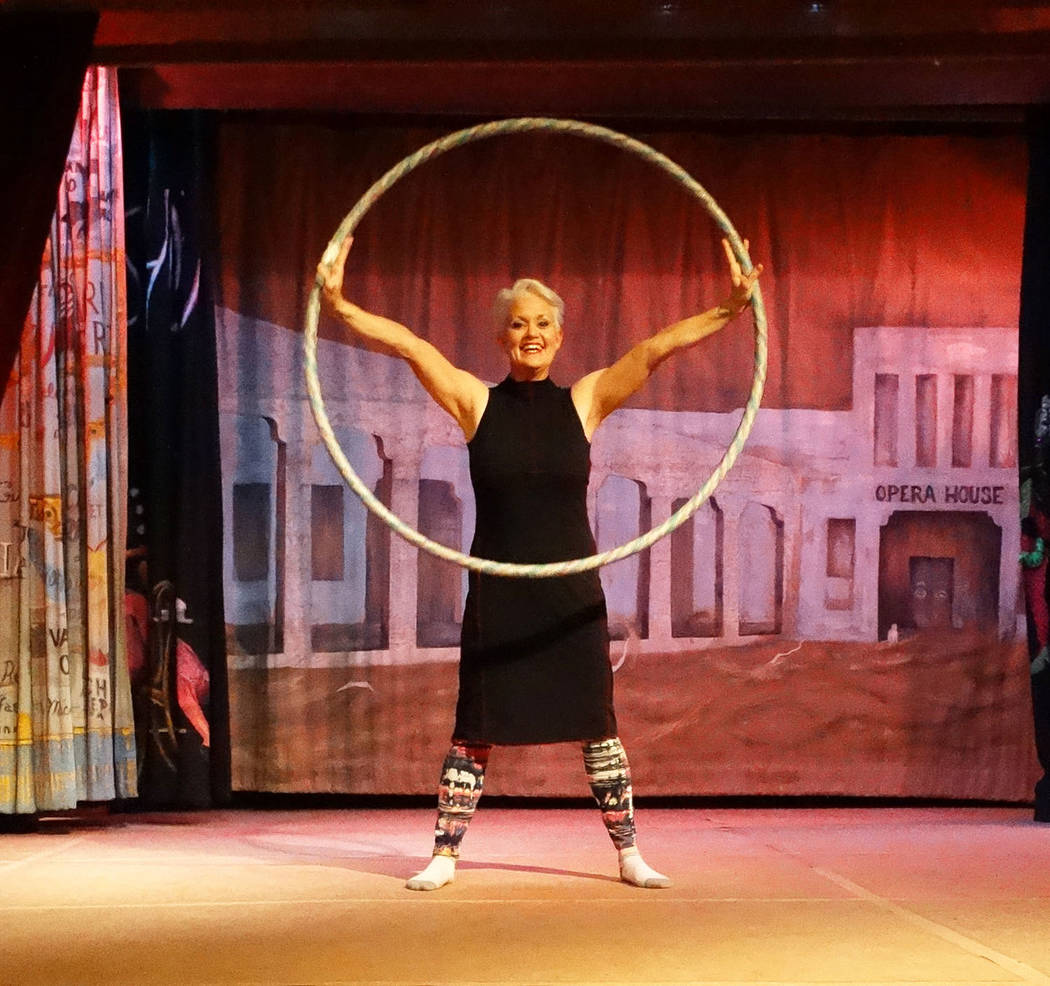 Bonnie Fanti/Special to the Pahrump Valley Times Christy Horne is shown hoop dancing at the Amargosa Opera House. Horne appears at the Opera House on multiple dates this month. 3 Attachments