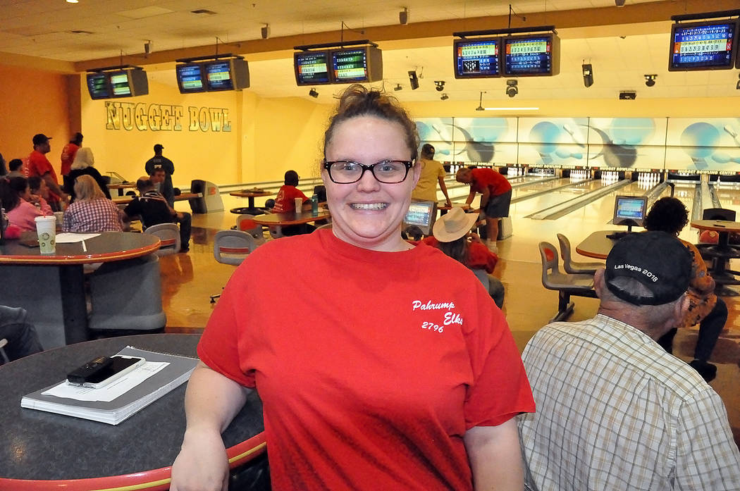 Horace Langford Jr./Pahrump Valley Times Pahrump resident Erin Briskey, 29, take a break from Special Olympics bowling practice Nov. 5 at the Pahrump Nugget Bowling Center.