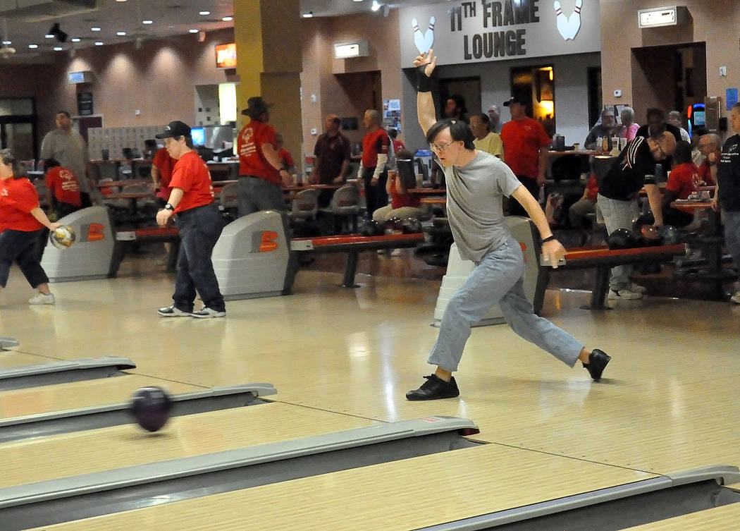 Horace Langford Jr./Pahrump Valley Times Billy Klem of Pahrump bowls during a Special Olympics practice Nov. 5 at the Pahrump Nugget Bowling Center.