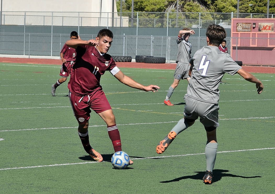 Horace Langford Jr./Pahrump Valley Times Jose Chavez, shown during a game against Silverado on Sept. 17 in Pahrump, was named Sunset League player of the year after posting 33 goals and 13 assists ...
