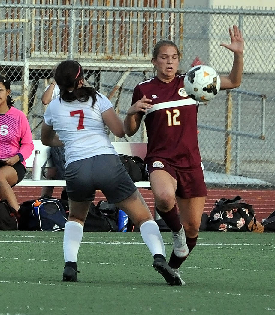 Horace Langford Jr./Pahrump Valley Times Madelyn Souza, right, battles a Del Sol defender for possession during an Oct. 1 game in Pahrump. Souza was named all-Sunset League after posting 13 goals ...