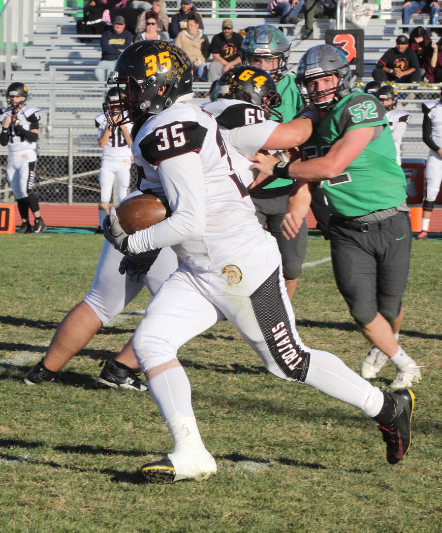 Thomas Ranson/Special to the Pahrump Valley Times Pahrump Valley senior Nico Velazquez finds running room against Churchill County for a 37-yard touchdown. Velazquez finished with 15 carries for 9 ...