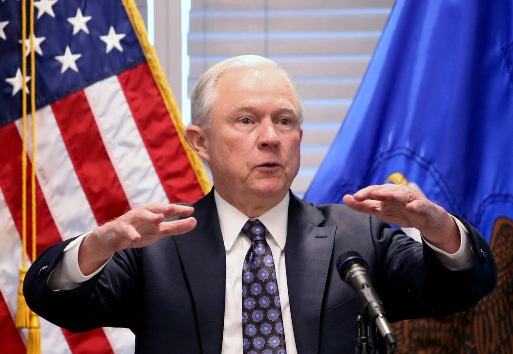 Bizuayehu Tesfaye/Las Vegas Review-Journal In January, Jeff Sessions changed a U.S. Department of Justice rule issued by the Obama administration that said the federal government wouldn't challe ...