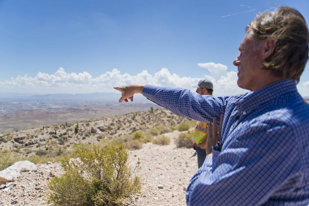 Ron Krater describes a proposed community during a tour of the site inside the Blue Diamond Hill Gypsum mine near the town of Blue Diamond on Thursday, Aug. 11, 2016. Daniel Clark/Las Vegas Review ...