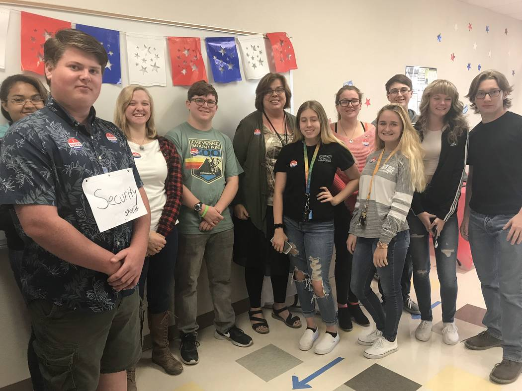 """Jeffrey Meehan/Pahrump Valley Times Several students at Pahrump Valley High School participated in a student mock election on Oct. 25, 2018. Students also were responsible for staffing the """"precin ..."""