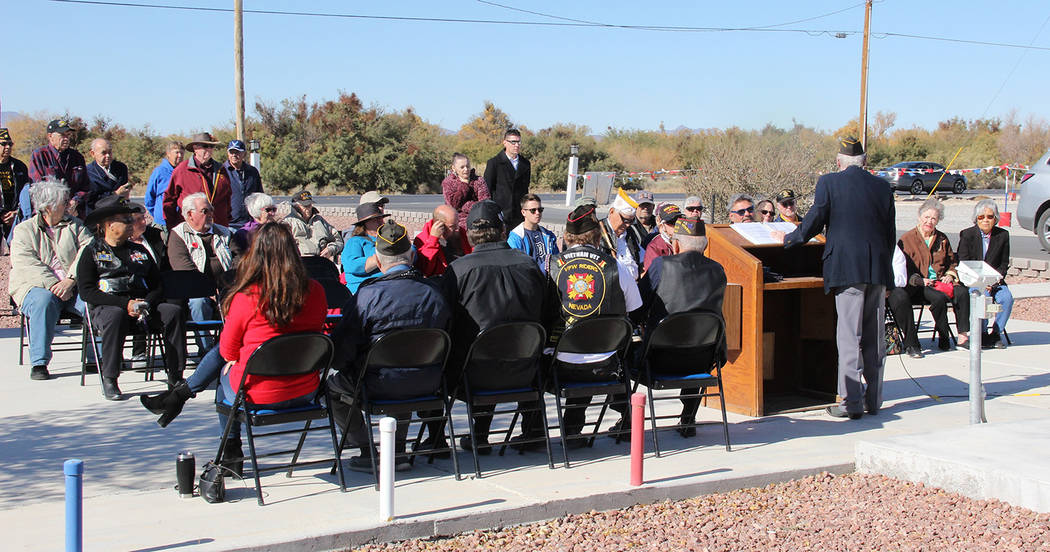 Charles Hoover/Special to the Pahrump Valley Times VFW Post #10054 Commander Ed Morrissey provides remarks to the several dozen attendees during Sunday's Veterans Day service.