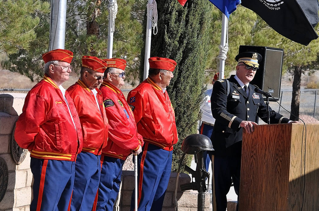 Horace Langford Jr./Pahrump Valley Times U.S. Army LTC (R) Patrick Nary gives remarks to visitors during Sunday's Veterans Day observation at the Pahrump Veterans Memorial of the Chief Tecopa Ce ...