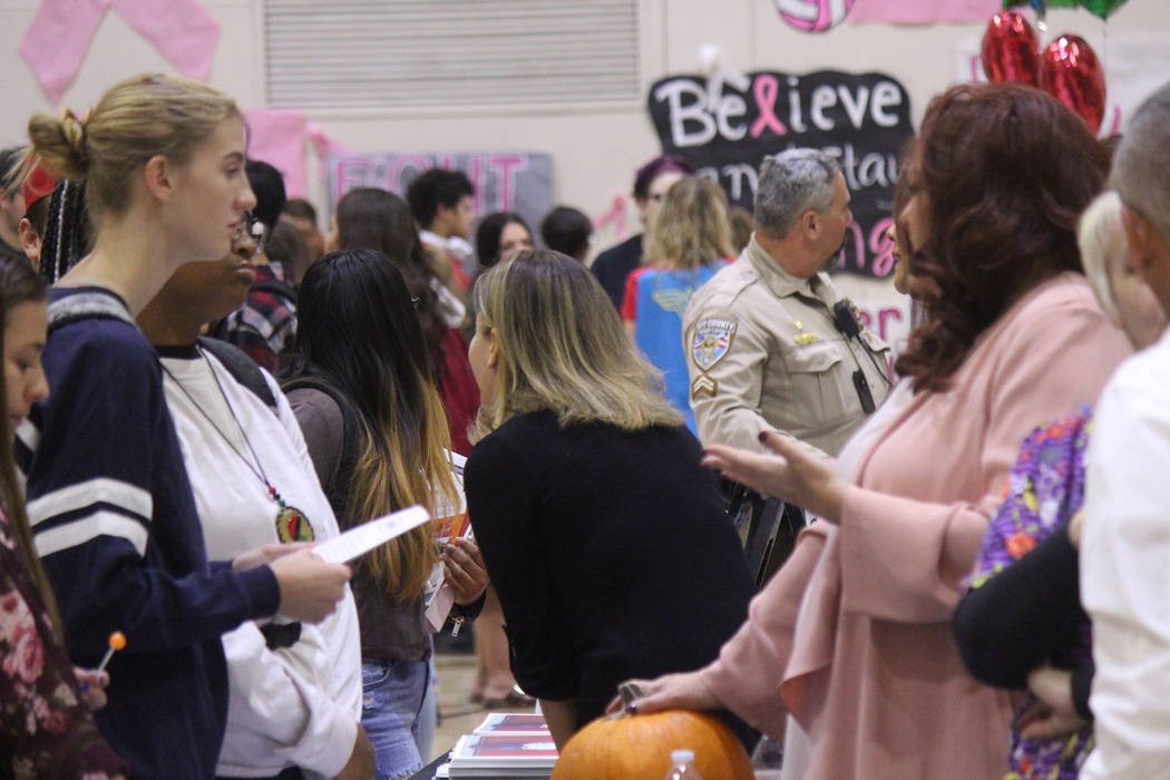 Jeffrey Meehan/Pahrump Valley Times Students learn about future opportunities at a college and career fair at Pahrump Valley High School on Oct. 24, 2018.