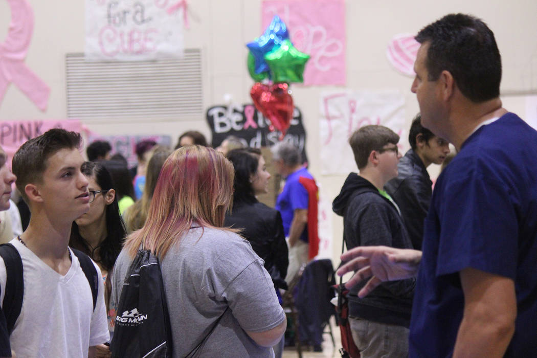 Jeffrey Meehan/Pahrump Valley Times Dozens of students from across Nye County swept through Pahrump Valley High School's gymnasium this fall for the annual college and career fair. Several area em ...