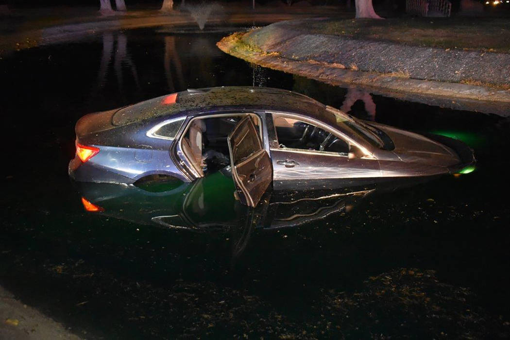 Special to the Pahrump Valley Times Nye County Sheriff's Deputies are investigating an incident where a car ended up submerged in the duck pond at the Calvada Eye. Pahrump fire crews responded, bu ...