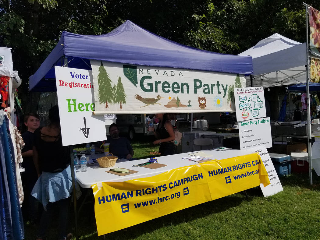 David Jacobs/Pahrump Valley Times The Green Party booth at the 2018 Pahrump Fall Festival. Republicans need every advantage they can get — even if that means funding the Green Party, columnist V ...