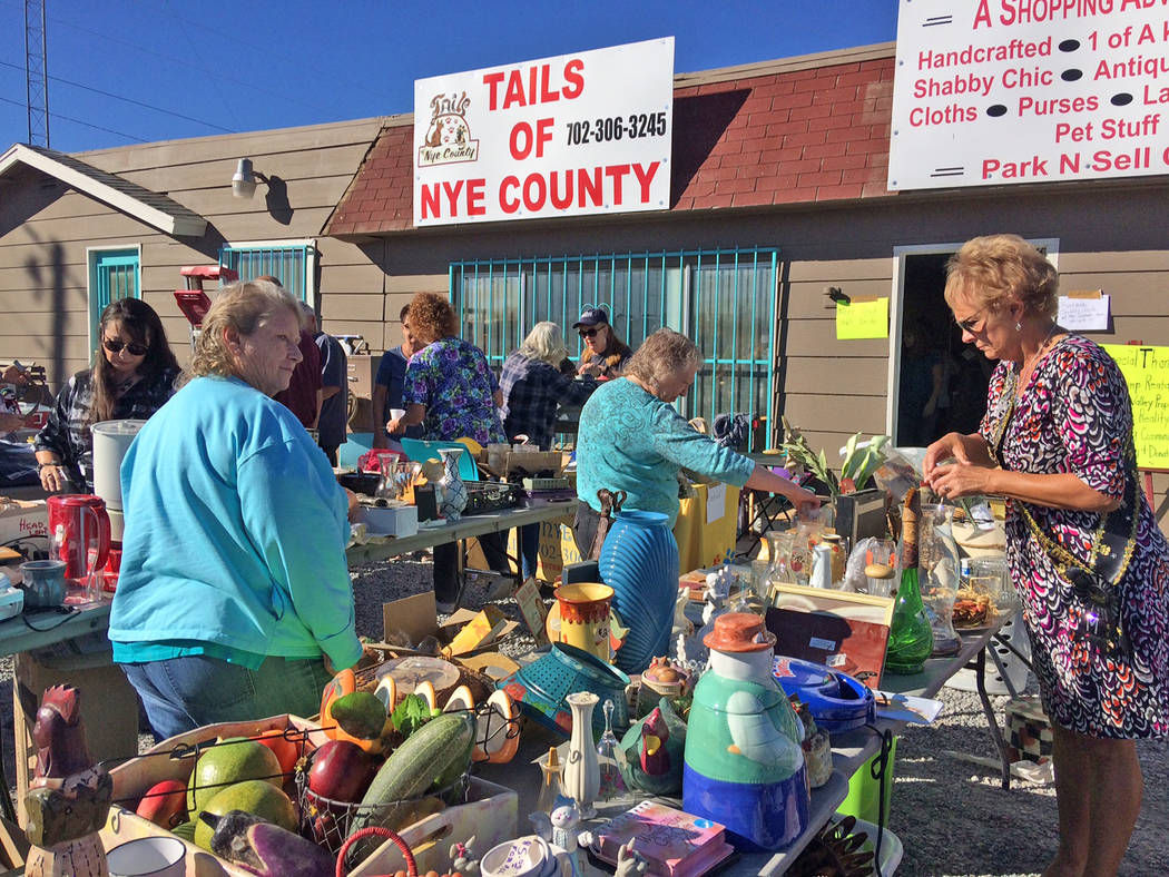 Robin Hebrock/Pahrump Valley Times The new Tails of Nye County location was swarming with yard sale patrons on Nov. 2.