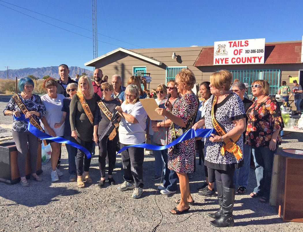 Robin Hebrock/Pahrump Valley Times Pahrump Valley Chamber of Commerce staff and Ms. Senior Golden Years ladies surround Tails of Nye County volunteers as they collectively celebrate the nonprofit' ...