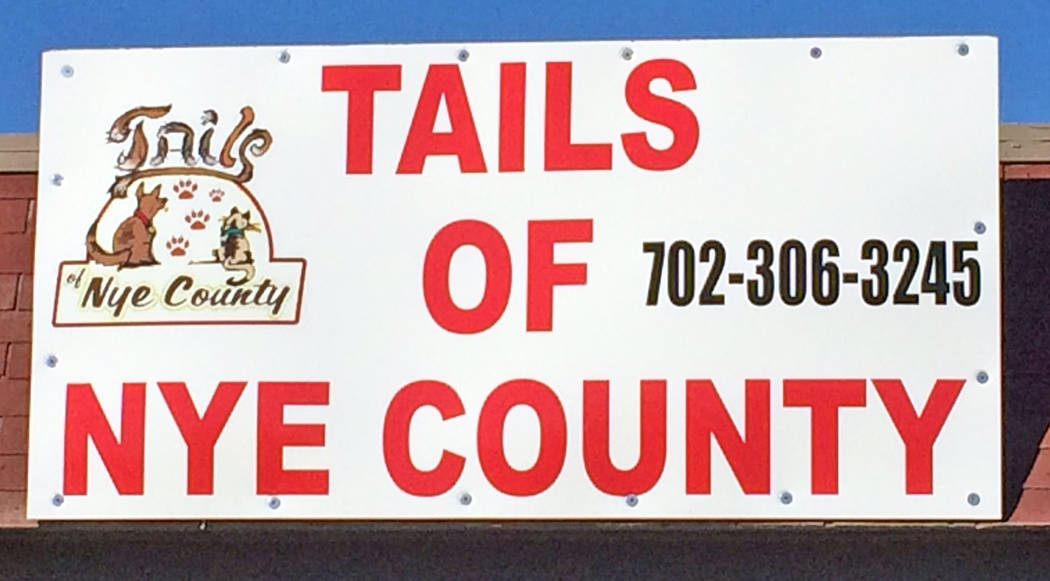 Robin Hebrock/Pahrump Valley Times A new sign is proudly displayed above the door of the new Tails of Nye County office.