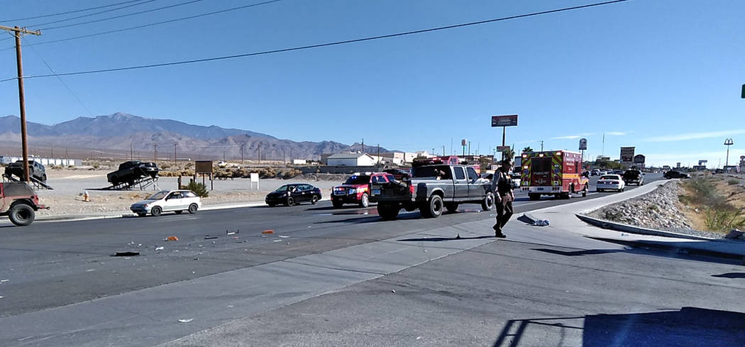 Selwyn Harris/Pahrump Valley Times Both north and southbound traffic along Highway 160 was diverted onto side roads as first responders worked to clear the scene of Wednesday morning's two-vehicle ...