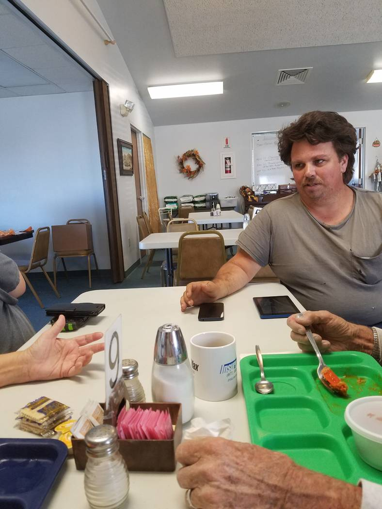 Jeannie Newberry/Special to the Pahrump Valley Times California resident Thomas Schwartz of Oroville, California sits at the Tonopah Senior Center in Tonopah on Nov. 14, 2018. Schwartz left his ho ...