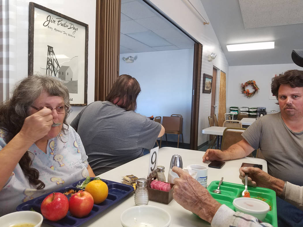 Jeannie Newberry/Special to the Pahrump Valley Times Sharon Robinson-Schwartz sits with her son Thomas Schwartz at the Tonopah Senior Center on Nov. 14, 2018. The two of them, along with Sharon's ...
