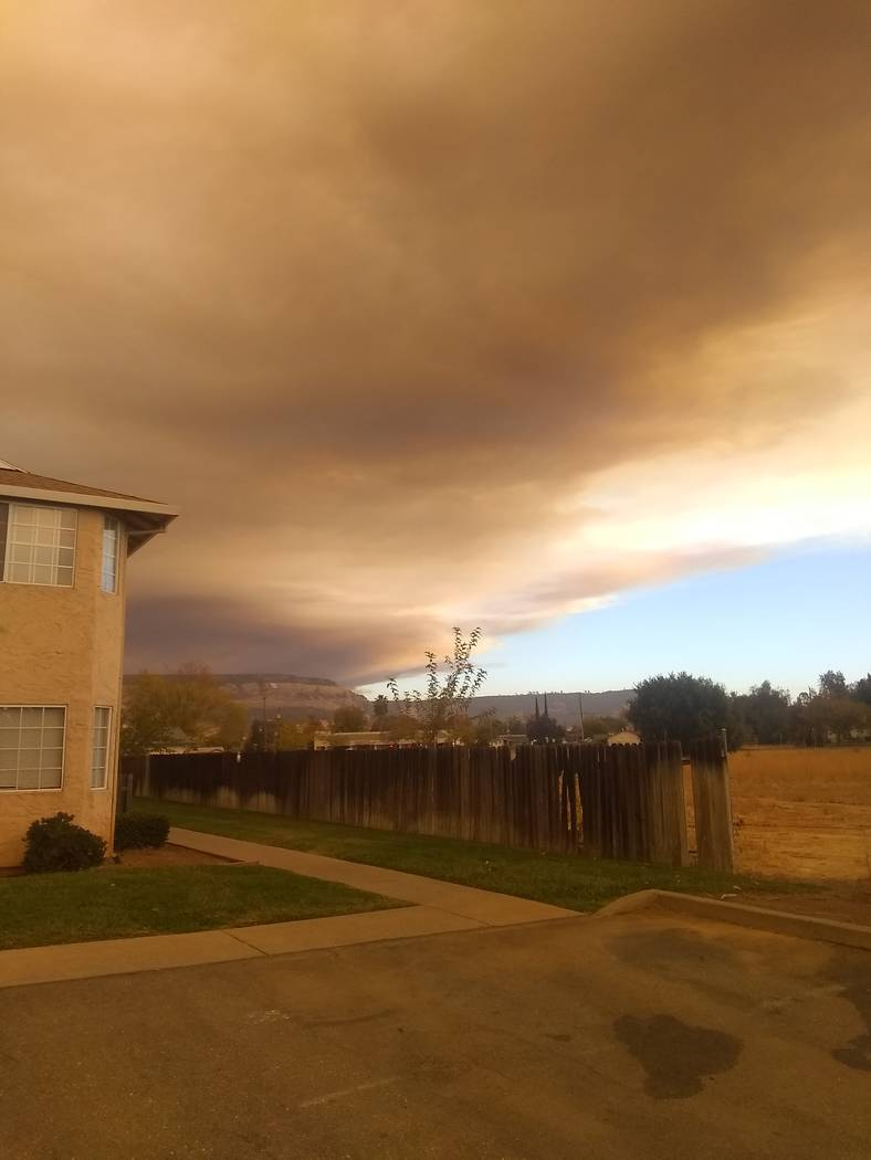 James Schwartz/Special to the Pahrump Valley Times California resident James Schwartz fled the most destructive fire in California state history: the Camp Fire. Plumes of smoke can be seen from hi ...