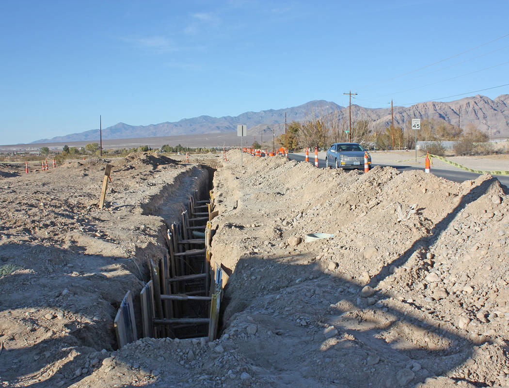 Robin Hebrock/Pahrump Valley Times Utility infrastructure work is currently underway on Hafen Ranch Road, as shown in this photo taken Nov. 14. The work is being done to connect a marijuana facili ...